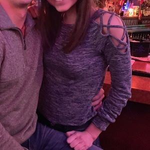 Gray/blue shirt with shoulder detailing